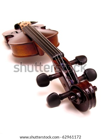 violin isolated on white background floating - stock photo