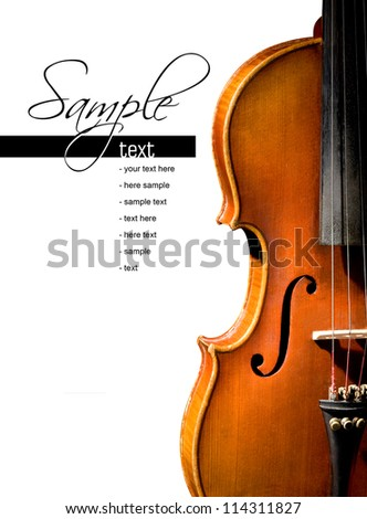 ?Violin on white background (easy to remove the text) - stock photo