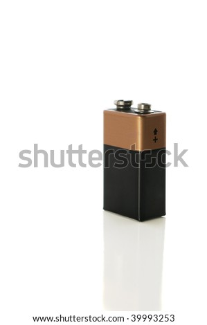 9 volt battery isolated on white with clipping path - stock photo