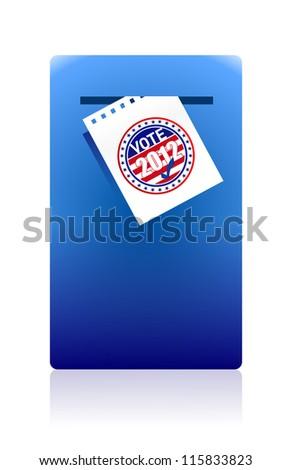 2012 voting paper in a blue ballot box illustration design - stock photo