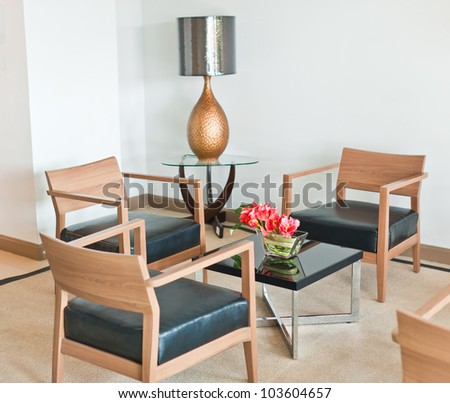 Waiting room with armchairs - stock photo