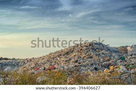 Waste Open Burning site, Plastic waste - stock photo