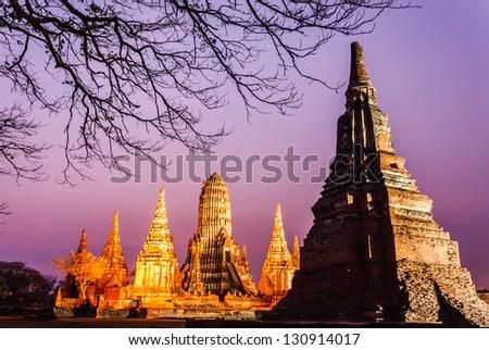 Wat Temple at night, Chaiwattanaram, Thailand - stock photo