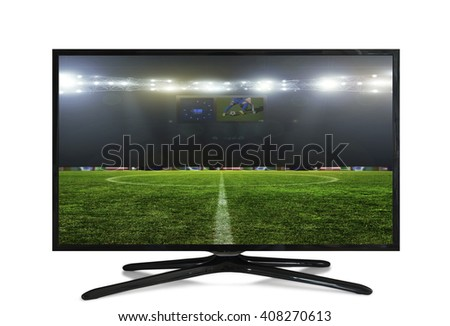 watching smart tv translation of football game. - stock photo