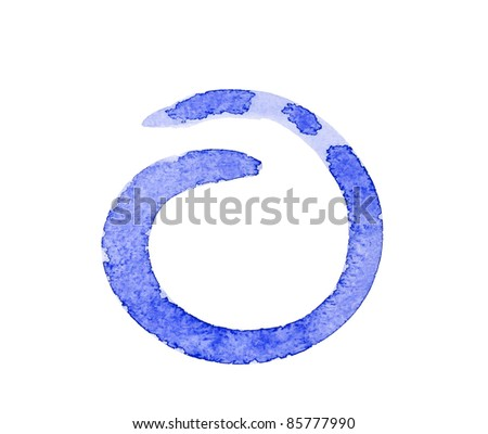 Water color paint blue circle - stock photo