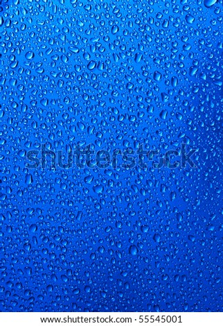 water drops an blue colors - stock photo