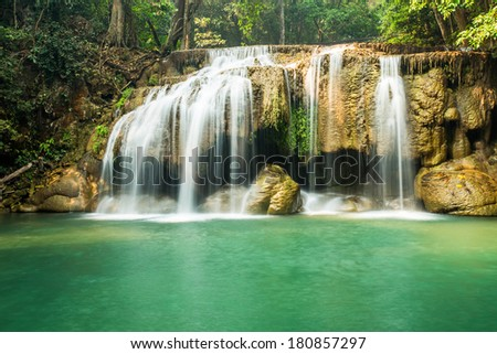 Waterfall erawan , Kanchanaburi Province, Thailand - stock photo