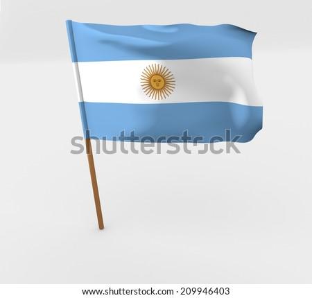 waving argentina flag on the flag pole - stock photo