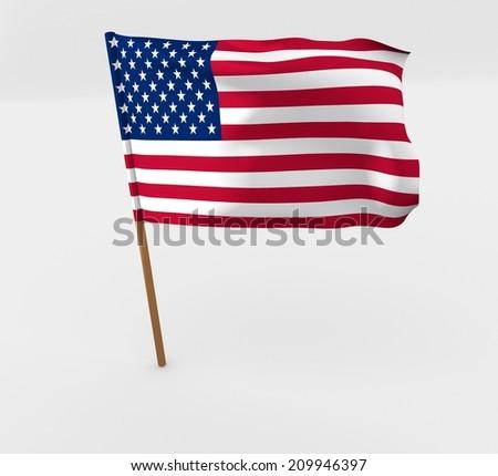 waving united states of america flag on the flag pole - stock photo