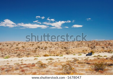4WD in the desert - stock photo