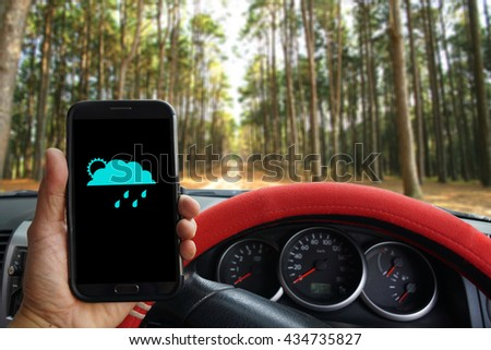 """""""Weather Forecast"""" showing on the smartphone inside of a pickup truck. - stock photo"""