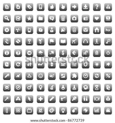 100 web, business, media and leisure icons set. Gray buttons. Raster version. Vector version is also available. - stock photo