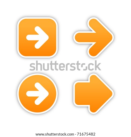 4 web 2.0 button stickers arrow sign. Smooth orange shapes with shadow on white. Bitmap copy my vector ID: 56977804 - stock photo