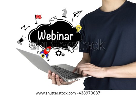 """""""Webinar E-business Concept"""" with man using laptop isolated on white background   - stock photo"""