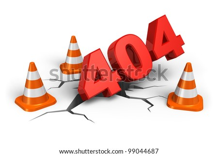 404 webpage error concept isolated on white background - stock photo