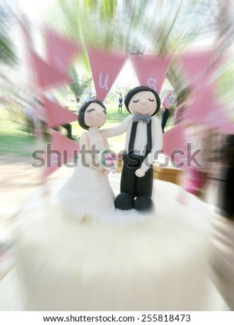 wedding cake outdoor, motion blurred                               - stock photo