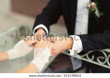 Wedding couple hands close-up  - stock photo
