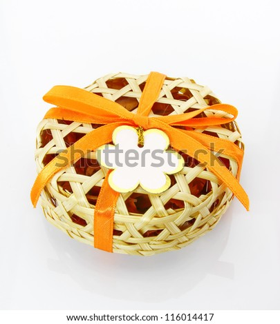 Wedding gift made by bamboo on white background - stock photo