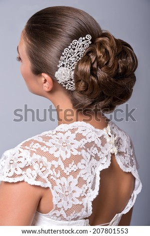 Wedding hairstyle. Beautiful bride - stock photo