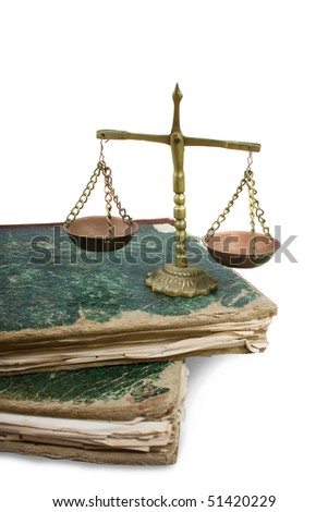 Weighing scales and books isolated over white. Vintage - stock photo