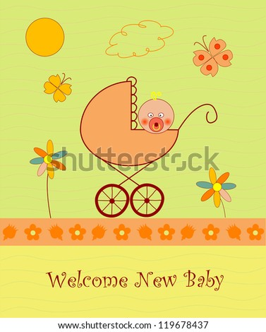 Welcome baby announcement card - stock photo