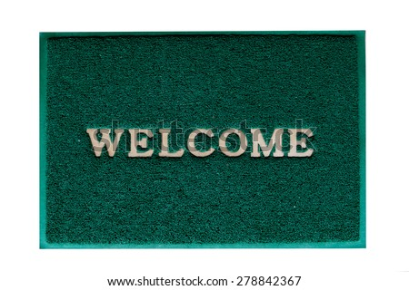 welcome  mat on the floor background  - stock photo