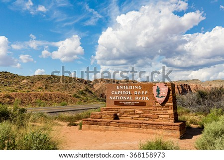 ?Welcome sign to Capitol Reef National Park - stock photo