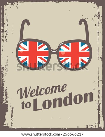 welcome to London poster with sunglasses - stock photo