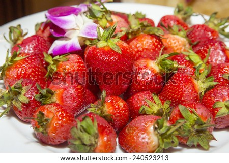 white china bowl filled with succulent juicy fresh ripe red strawberries  - stock photo