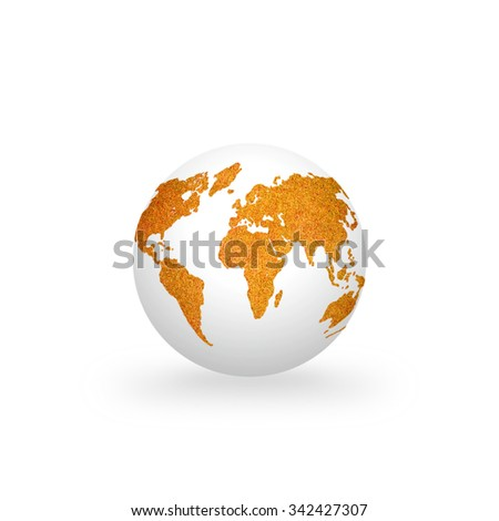White clean globe with orange color grass world map texture pattern isolated on white background: Orange the world symbolic concept/ campaign to end violence against women and girls  - stock photo