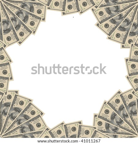 White paper card (with empty space for your text) on a bunch of US dollars - stock photo
