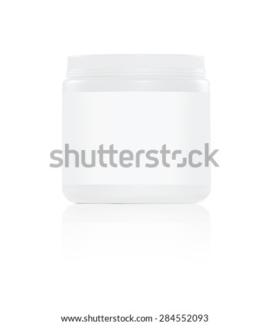 white plastic supplement jar with white label on white background - stock photo