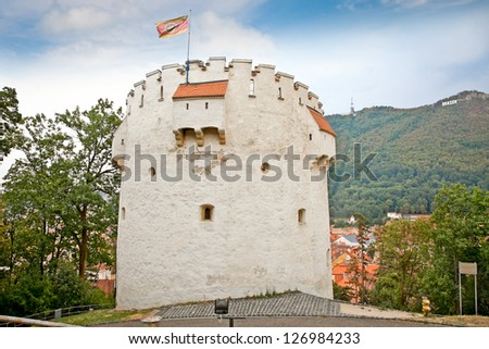White Tower is located 60 m far from the citadel's walls. It is high up on the hill and you'll have to climb some 200 steps up to it. The construction was erected between 1460-1494. Brasov, Romania - stock photo