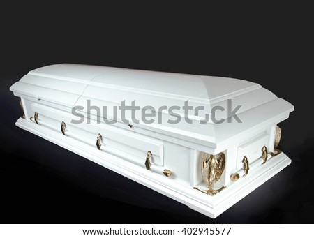 white wood wood coffin isolated on white background. Ritual objects for burial. Conduct of the deceased on his last journey. Surrender body dust of the earth. Christian funeral ritual - stock photo