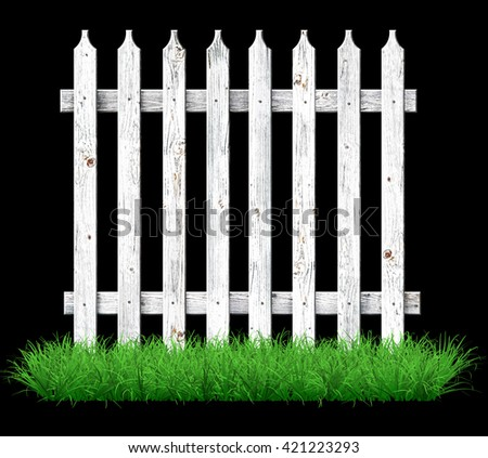 White wooden fence on the lawn. 3D illustration                              - stock photo