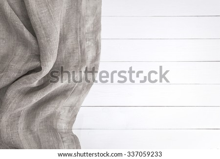 white wooden table. wood texture and textile texture. top view - stock photo