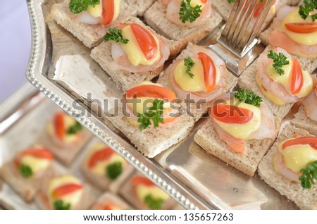 whole wheat sandwich with shrimp on top 1 - stock photo