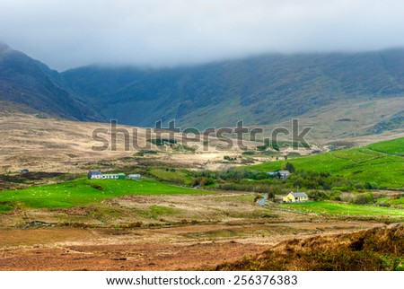 Wide angle view over countryside in Republic of Ireland - stock photo