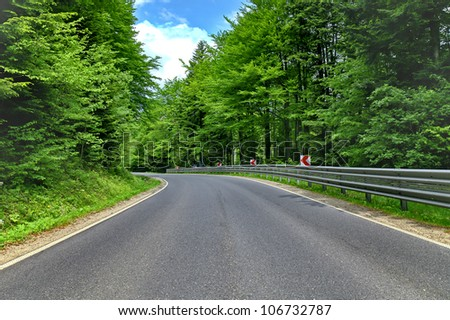 winding curve road in a beech green forest - stock photo