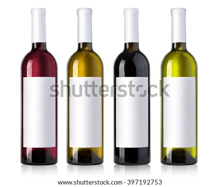 wine bottle in glass bottle with blank label andl on white background - stock photo