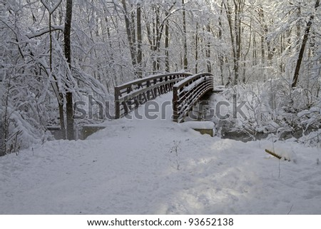 """Winter's Bridge"" - Scene after a snowstorm - Grand Rapids, Michigan, USA. - stock photo"