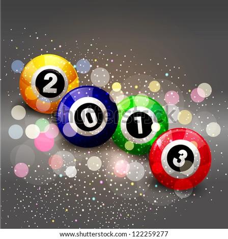 (2013) with glowing billiard balls - stock photo