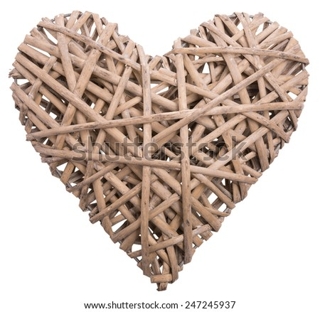 (withe, withy, osier, sallow, vine) braided on a frame in the form of hearts isolated on a white background - stock photo