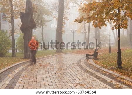 woman running in the autumn  park - stock photo