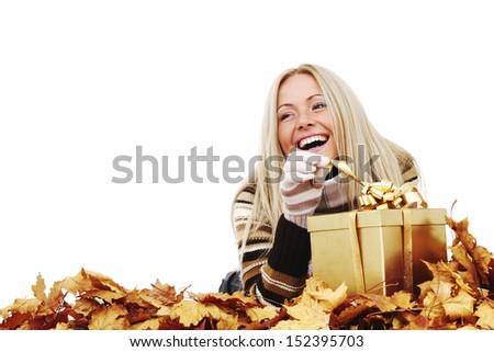 woman take autumn gift isolated in studio - stock photo