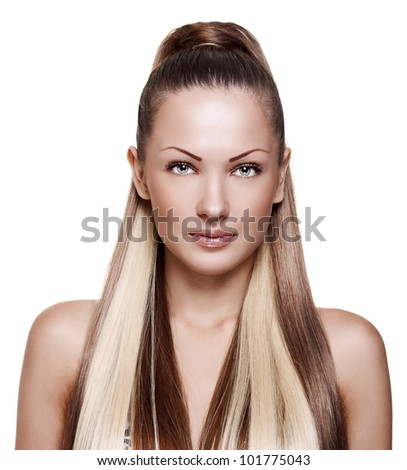 woman with elegant long shiny hair , hairstyle , isolated on white background - stock photo