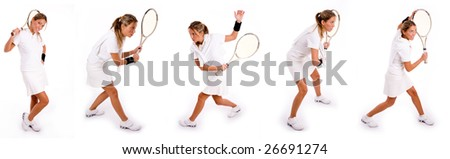 5 women playing tennis. collection collage of players - stock photo