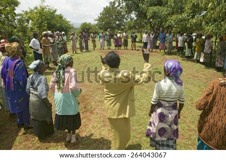 """""""Women without Husbands"""" women who have been ostracized from society or who have lost their husbands and only have themselves as a group to look after each other in Meru, Kenya, Africa - stock photo"""