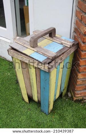 wood bin - stock photo