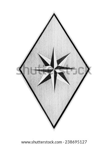 Wood Eight-pointed star in monochrome isolated over white background - stock photo